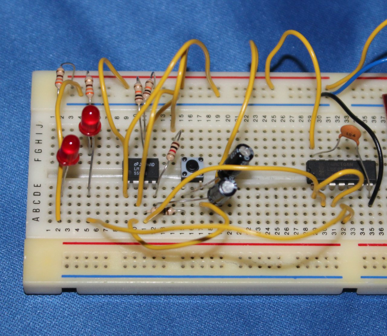 your breadboard might look something like this electric mx tl555 bistable breadboard basic 555 toggle circuit built on breadboard