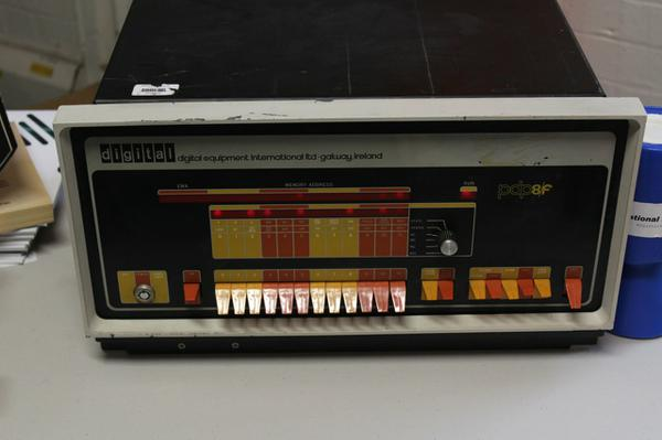 The PDP8 was running some simple counting program which had been programmed in with the front panel switches.