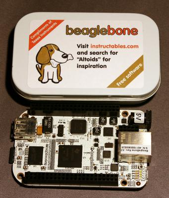 The Beagle Bone fits precisely in this handy Altoids form-factor tin.