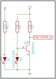 Circuit diagram of the opto-encoder to logic signal converter.