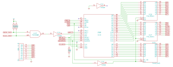 Schematic of the actual Z80 connections
