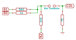 Diagram of a 3 resistor DAC, the resistor from the most significant bit has been moved to make it apparent that it is connected to ground as B2=0.