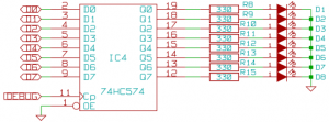 Schematic of the debug ports on the Z80 project.