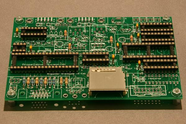 A PCB fitted with low profile components such as chip sockets and an SD card slot
