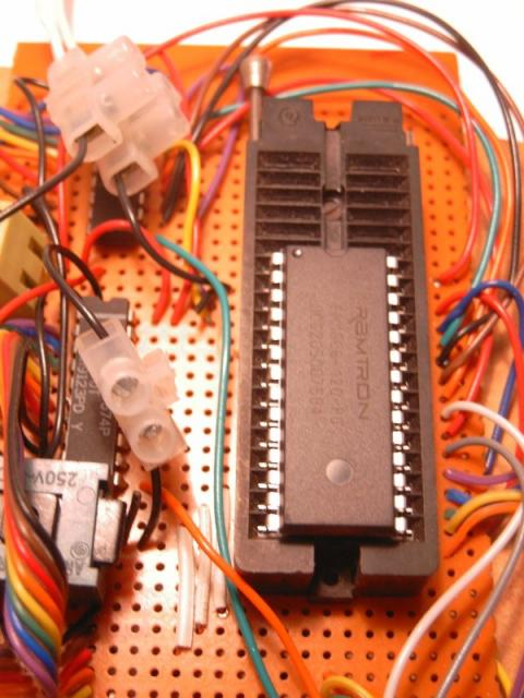 Detailed view of a chip in the EEPROM programmer