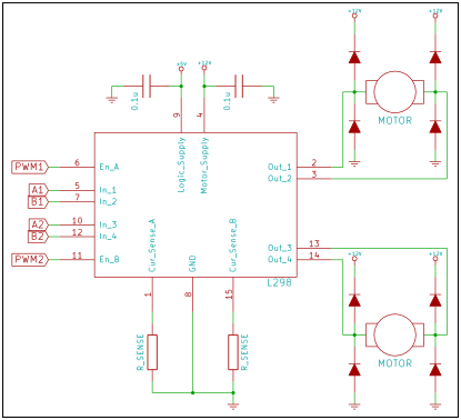 Typical application circuit for L298 as a dual H-bridge for DC motors