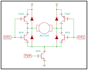 Transistor H-Bridge with an additional transistor to enable or disable the circuit.