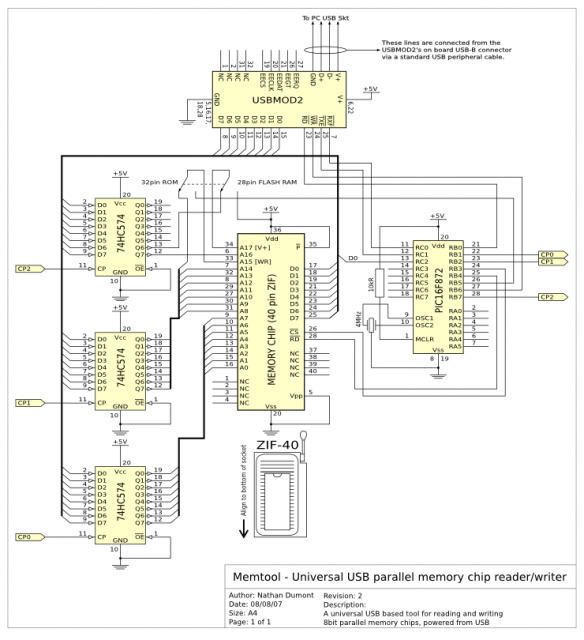 Circuit diagram of the EEPROM programmer tool.