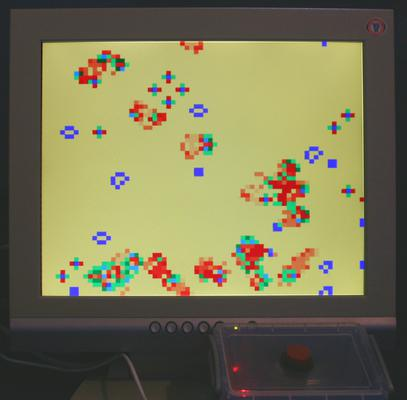 The classic Conway's Game of Life with different colour pixels indicating time since birth/death.