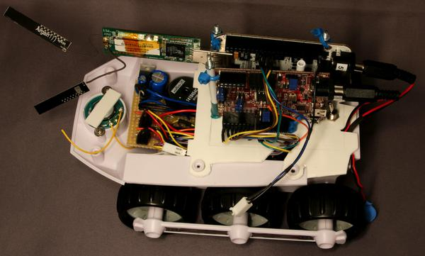 A photo of the hbridge and power supply inside the modified BigTrak.