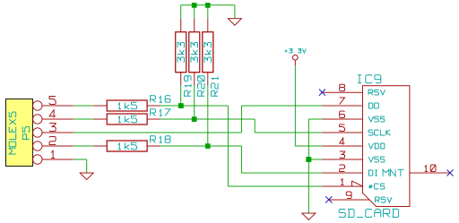 Schematic of the SD card socket on the Z80 project