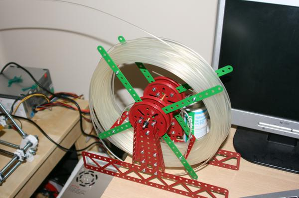 A filament spool for the RepRap made with Meccano