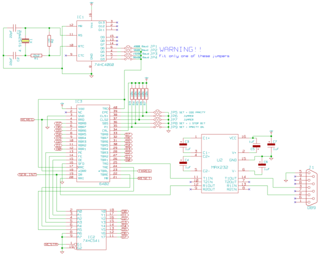 Schematic of the UART sub-system of the Z80 project