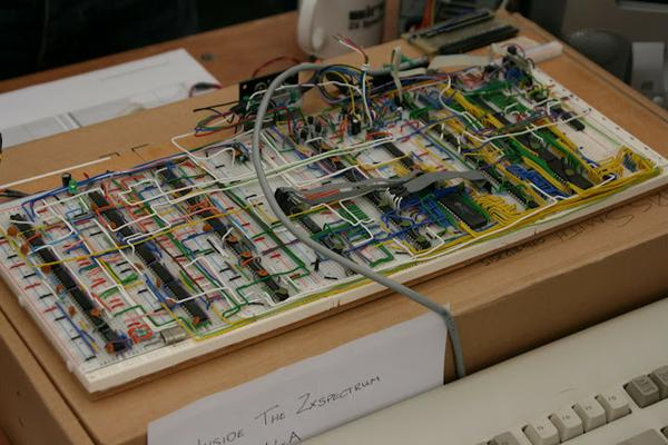 The entire contents of the Spectrum ULA, on breadboard.