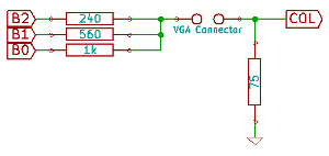 Diagram of a 3 resistor DAC feeding a 75Ohm monitor input
